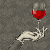 Women`s hand with a wine glass on grapes seamless pattern backgr Stock Images
