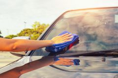 Wiping car Stock Photos