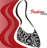 Women's handbag. Abstract red and white background with a graceful feminine handbag vector illustration