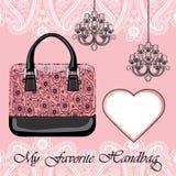 Women's handbag, label , chandeliers Stock Images