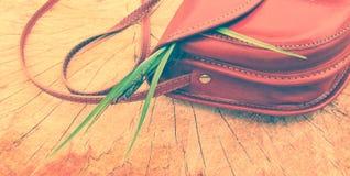 Women's handbag on stump Stock Images