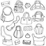 Womens handbags. Hand drawn Vector Set 3 Stock Photos
