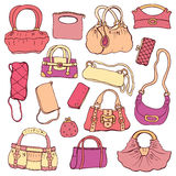 Women's handbags. Hand drawn Vector Set Royalty Free Stock Photos