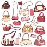 Women's handbags. Hand drawn Vector Set Stock Image