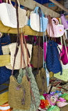 Women's handbags in a store. A close up of colorful shopping bags in guangzhou Stock Photography