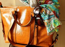 Women's handbags and  sunglasses Royalty Free Stock Photos