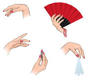 Women`s hands. Womens hands in different poses Stock Image
