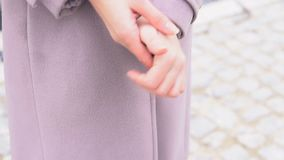 Women`s hands closeup cold. Nice 1 stock footage