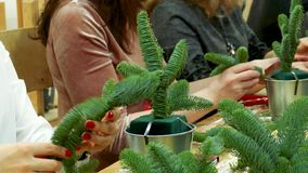 Decoration of Christmas gift bouquets. Women`s hands collect a bouquet. Handmade production of small decorated Christmas trees stock video footage