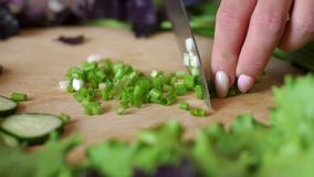 Women`s hands cut green onions on a wooden round cutting Board. Close-up. Close-up of a young girl cutting green onions on a cutting Board on a background of stock video footage