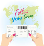 Women`s hands are holding a boarding pass Stock Image