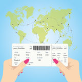 Women`s hands are holding a boarding pass Stock Photo