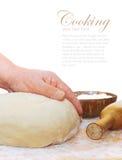 Women's hands knead the dough. Women's hands knead о dough Royalty Free Stock Images