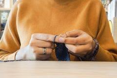 Women's hands knitting Stock Photo