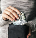 In the women`s hands is the leather wallet with a wad of hundred dollars. Business offer. Beautiful manicure Stock Image