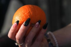 Women`s hands with nail arts on nails holding orange fruit royalty free stock photo