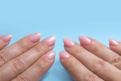 Women`s hands with perfect Nude manicure. Nail Polish is a natural pale pink shade. Blue background. Women`s hands with perfect Nude manicure. Nail Polish is a royalty free stock images