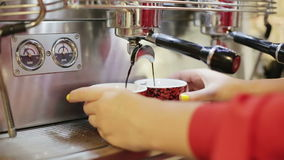 Women's hands are preparing coffee in a professional coffee machine. stock footage
