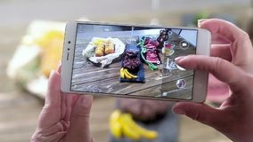 Women`s hands removes food on the phone. Meat, steak, spices in the frame. Women`s hands removes food on the phone. Meat, steak, spices in the frame stock footage