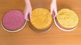 Women`s hands shift the cakes of a different color biscuit in different plates. Cakes in green, yellow and purple stock footage