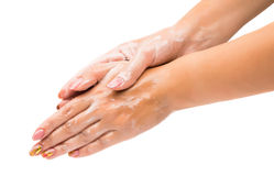 Women's hands with soap royalty free stock images