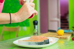 Women`s hands sprinkle from a handmade mills spices raw steak from salmon. Women`s hands sprinkle from the hand mill with spices two raw steak from salmon lying Stock Image