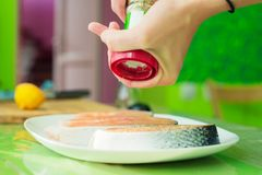 Women`s hands sprinkle from a handmade mills spices raw steak from salmon. Women`s hands sprinkle from the hand mill with spices two raw steak from salmon lying Royalty Free Stock Image