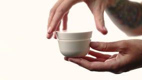 Women`s hands tear off a jar of cream. Close up stock video