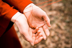 Women's hands tied with thread Stock Photography