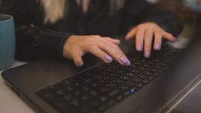 Women`s hands typing on computer RUSSIAN keyboard. Women`s hands typing on computer keyboard stock video footage