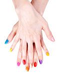 Women S Hands With A Colored Nail Polish Stock Images