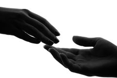 Women's handshake. Black white Royalty Free Stock Photos