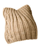 Women`s hat . knitted hat isolated on white background.beige ha Stock Image