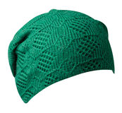 Women`s hat . knitted hat isolated on white background .green h Royalty Free Stock Images