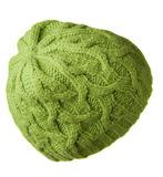 Women`s hat . knitted hat isolated on white background.green ha Royalty Free Stock Images