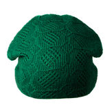 Women`s hat . knitted hat isolated on white background.green ha Stock Images