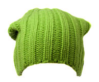 Women`s hat . knitted hat isolated on white background.green ha Stock Photo