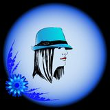 Women's Hat 1. Series hats for girls and women adorned with blue flower stock illustration