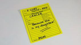 Women`s health- Cancer prevention and research. Women`s health awareness month is May. Abstract design of a handwritten message from a mom who is coping with Stock Photos