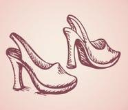 Women's high heels. Vector drawing Stock Images