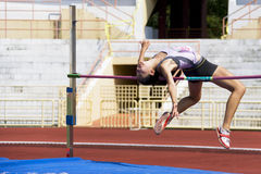 Women's High Jump Action Stock Images