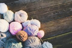 Skeins on a wooden old background. stock photography