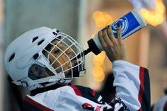Women`s hockey. Hockey match `Pantery` vs `Lavina`. Ukrainian women hockey championship Stock Photography