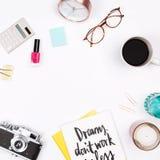 Women`s home office desk workspace. stock photos