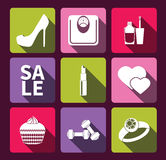 Women's interests flat icon set. Stock Photo