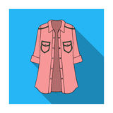 Women s jacket with buttons and short sleeves. Casual wear for the stylish woman.Women clothing single icon  Royalty Free Stock Photography