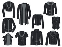 Women's jackets. A set of black silhouettes of women's jackets Royalty Free Stock Images