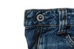 Women& x27; s jeans met een knoop op het ijzer dat op een etiket kan worden toegepast Royalty-vrije Stock Foto