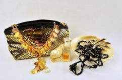 Women's jewelry, perfumes and cosmetics Stock Image