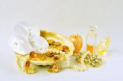 Women's jewelry, perfumes and cosmetics stock images